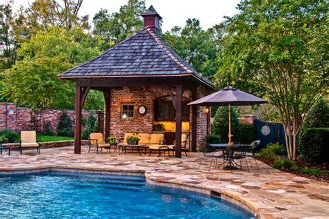 outdoor living pool cabana mediterranean patio
