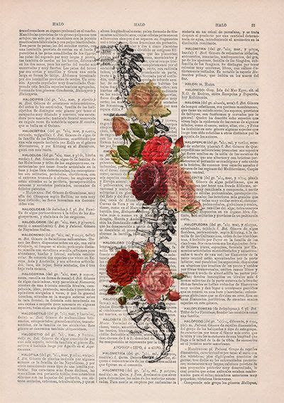 Springtime Spine Decorative Art Flowers Skull Nature