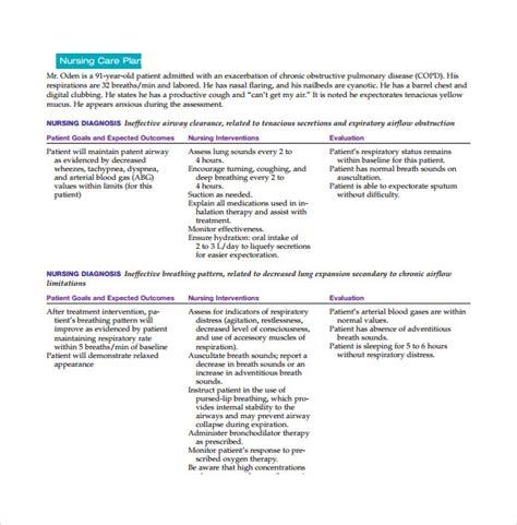 nursing care plan templates sample templates