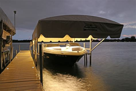canapé lits boat lift canopy led light white view all lake lite