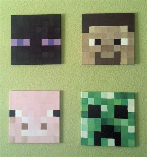 Minecraft Bedroom Pictures by Minecraft Heads Painted On Canvas Made By Me Minecraft