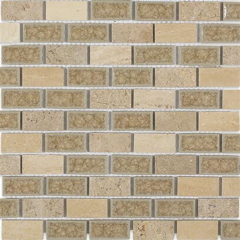 brick glass tiles shop 12x12 roman collection desert tan brick mosaic in a blend of polished stones crushed glass