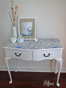 25 amazing diy furniture makeovers with wallpaper for How to wallpaper furniture