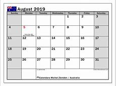 Calendars August 2019, public holidays Australia Michel