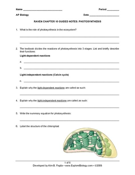 raven chapter 10 guided notes photosynthesis worksheet for 9th higher ed lesson planet