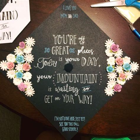 floral quote chalkboard grad cap grad caps graduation