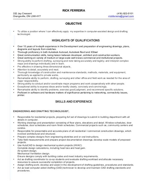 Resume Drafting by Drafting Technologist Rf Resume