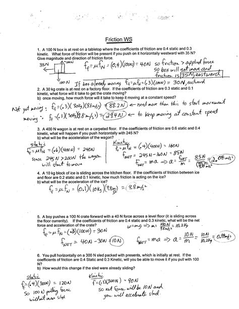 Force Practice Problems Worksheet Answers