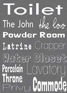 Toilet word art for bathroom decor gift ideas for Funny words for bathroom