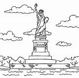 Liberty Statue Coloring Pages Easy Drawing Monument Printable Industrial Revolution Outline History Monuments Clipart Sheets American Cliparts Constitution Colouring Island sketch template