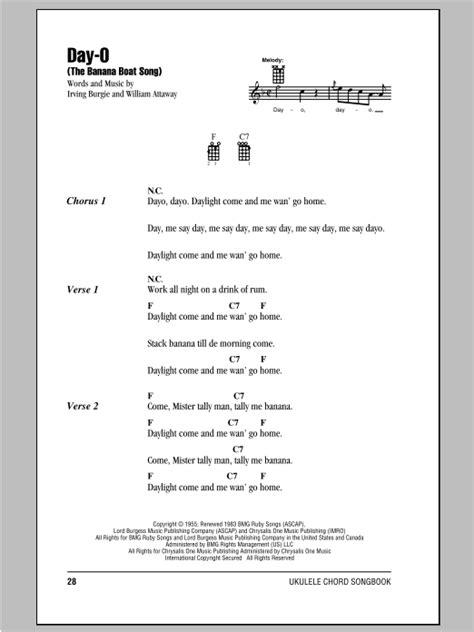 Banana Boat Song Lyrics by Day O The Banana Boat Song Sheet By Harry
