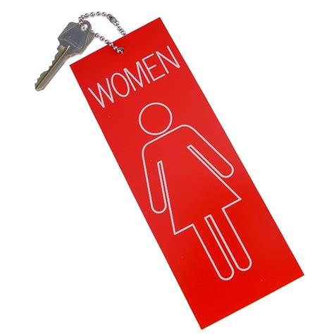 Womens Restroom Key Tag Jumbo Keyring Black 84502