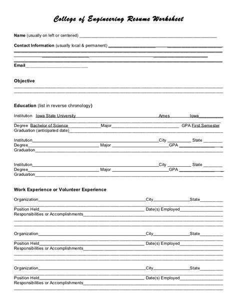 Resume Creation Form by Resume Worksheet