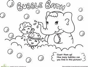 Bath Time! Color the Elephant Bubble Bath | Worksheet ...