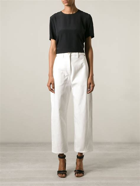 Frayed Wide Leg lemaire cropped wide leg in white lyst