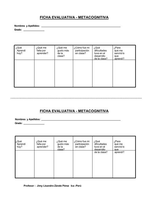 Modelo De Ficha De Evaluación Metacognitiva  Dos En Uno