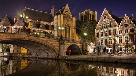 full hd wallpaper ghent bridge night river belgium
