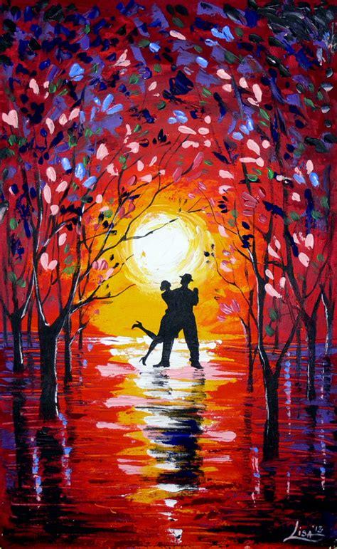 Original Abstract Painting Dancing Sunset 2 Acrylic