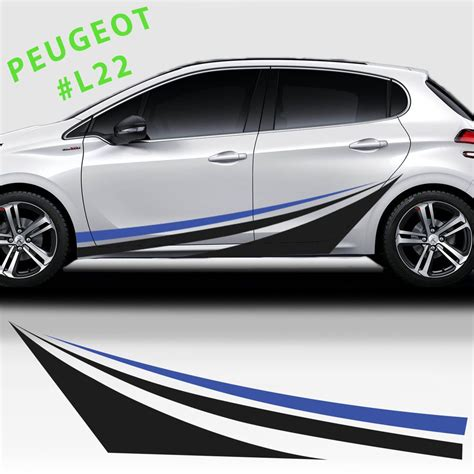 side sport racing stripes stickers decal for peugeot 208 207 308 wrapping coches coches y