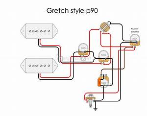 Electric Guitar Wiring  Gretch Style P90  Electric Circuit
