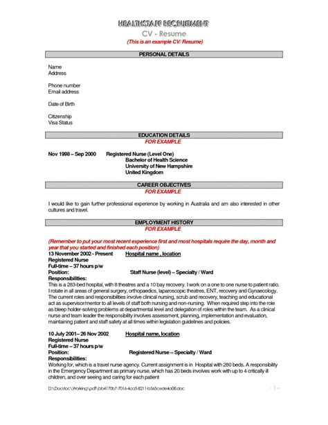 Professional Objective For A Nursing Resume by Sle Objective Resume For Nursing Free Resume Templates