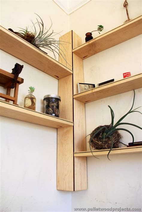 pallet corner shelf plans pallet wood projects
