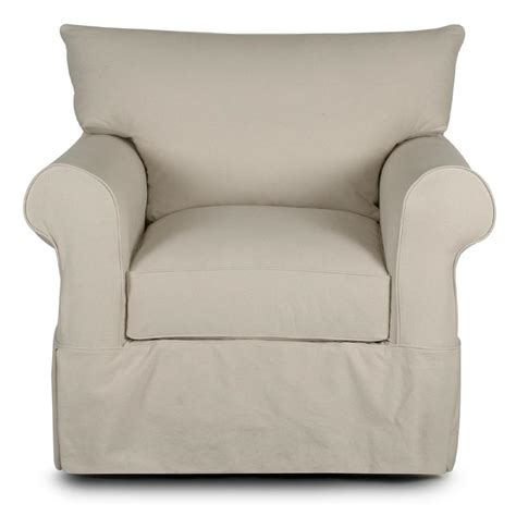 klaussner slipcover chair with rolled arms and skirt