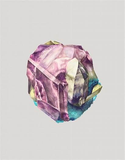 Crystals Mineral Watercolor Karina Eibatova Paintings Crystal
