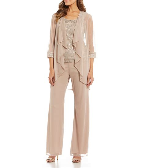 richards  piece glitter lace flyaway pant set dillards