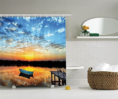 Fishing Shower Curtain Lake House Decor by Ambesonne