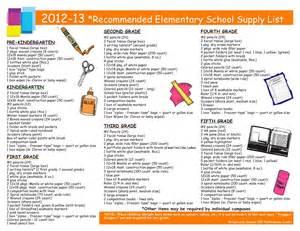 Kindergarten School Supply List