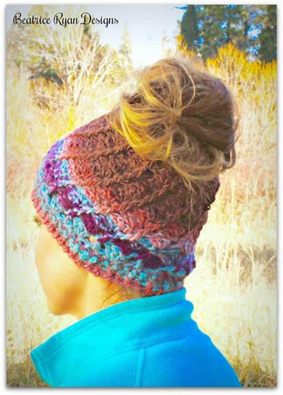 Crochet Hat Bun Messy Boreal Pattern Beatriceryandesigns