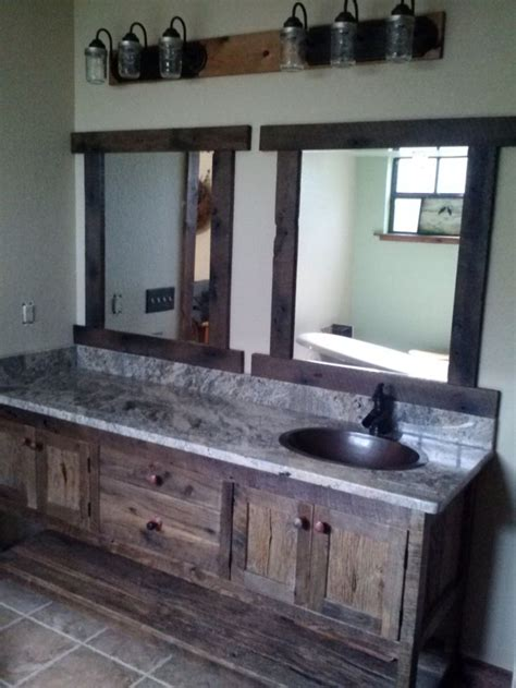 custom  rustic barn wood double vanity