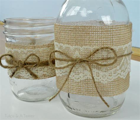 burlap covered furniture and cheap jar crafts filled with