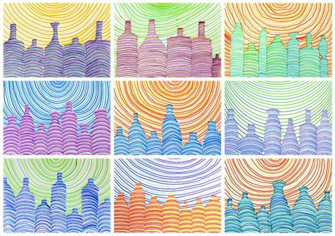 drawing bottles  parallel lines