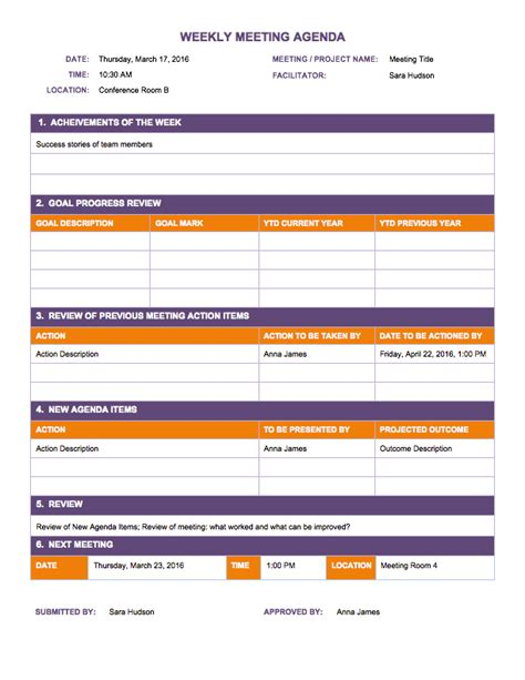 Weekly Meeting Calendar Template by Free Weekly Schedule Templates For Excel Smartsheet