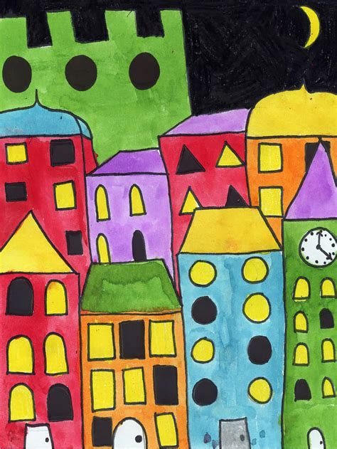 layered cityscape painting art projects  kids
