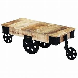 Roue Table Basse : acheter vidal xl table basse avec roues bois de manguier ~ Teatrodelosmanantiales.com Idées de Décoration
