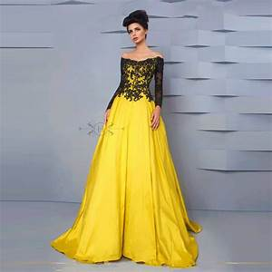 hotsale blackyellow boat neck long sleeve appliques ball With yellow evening gowns wedding