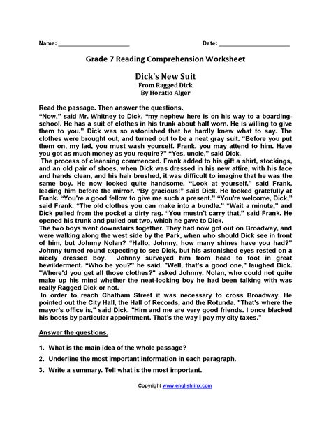 7th grade reading comprehension worksheets with