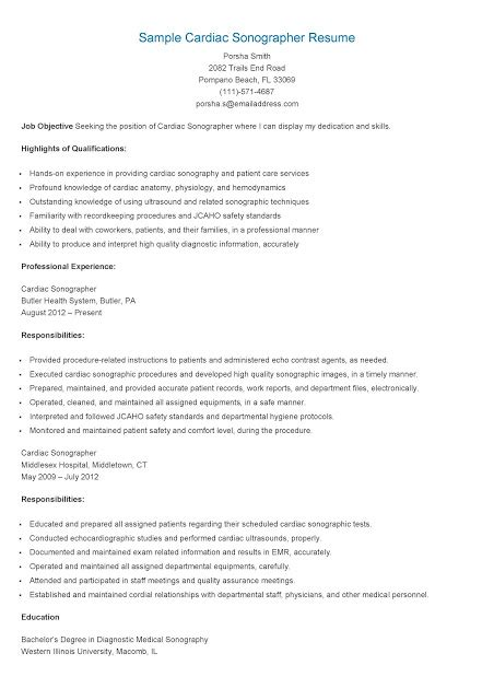 Diagnostic Sonographer Resume Sle by Resume Sles Sle Cardiac Sonographer Resume