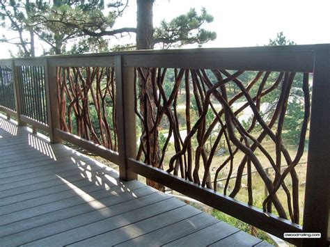 deck railing deck railing with composite lumber and branch and metal