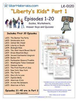 A Liberty's Kids ** Episode 0140  Worksheet, Ans Sheet, Two Quizzeslk0140  Kids Worksheets