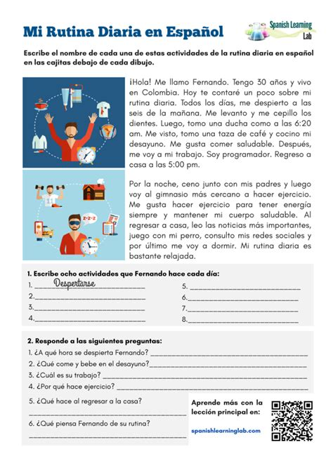 daily routine  spanish  worksheet