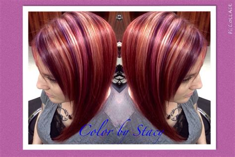 Plum,copper Red And Blonde Highlights