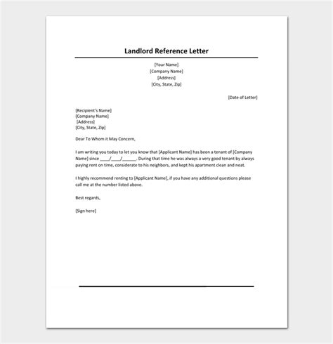 rental reference letter template  samples examples