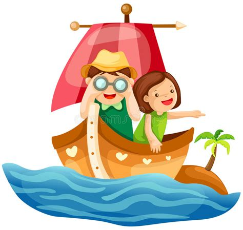Two Kids Sailing In The Sea Stock Vector - Illustration of ...