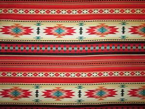 Navajo Indian Red Teal Border Native American Print Cotton ...
