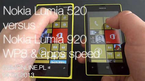 nokia lumia 520 versus nokia lumia 920 wp8 apps speed