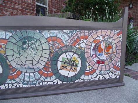 hand crafted broken china mosaic headboard  vintage